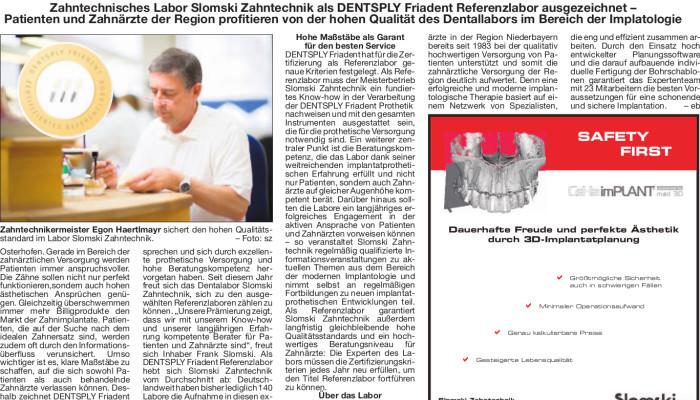 Ernennung zum Dentsply Friadent Referenzlabor für Implantatprothetik