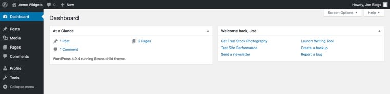 Customized WordPress Dashboard