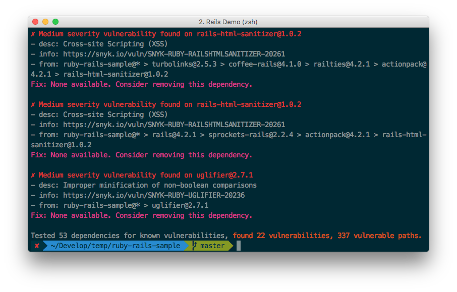 A screenshot of the new Snyk Ruby CLI