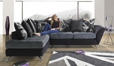 If your looking for a corner sofa that exudes style and quality design the Napier is for you. This high design collection creates an instant impact with its use of iconic imagery and unique mix of fabrics. This fabric sofa is fitted with chrome finished feet that offer stand out looks and great support. Unique to Sofaworks and available in both right and left hand facing versions, with the option of having a cuddler designer swivel chair and storage footstool to compliment, your sure to find the group for you.