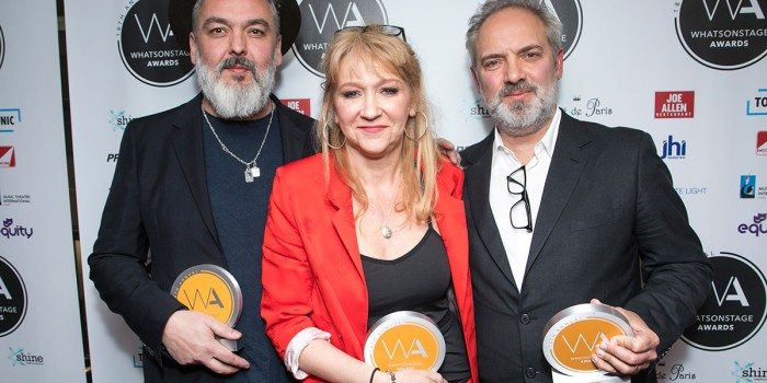 Jez Butterworth, Sonia Friedman and Sam Mendes at the WhatsOnStage Awards (Photo: Dan Wooller)