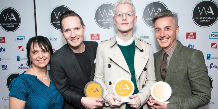 Nica Burns, Dan Gillespie Sells, John McCrea and Jonathan Butterell at the WhatsOnStage Awards (Photo: Dan Wooller)