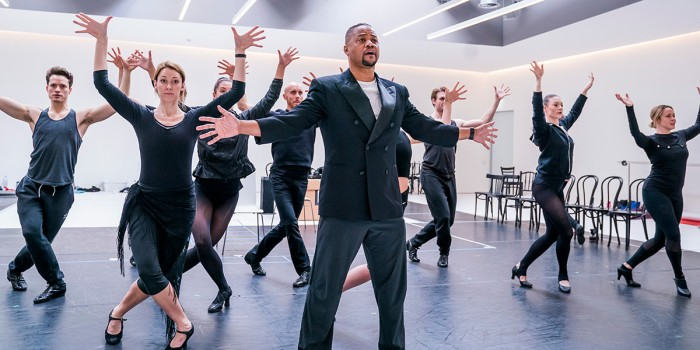 Cuba Gooding Jr and company in rehearsals for Chicago (Photo: Tristram Kenton)
