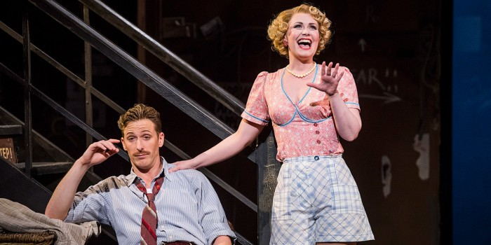 Alan Burkitt and Zoë Rainey in Opera North's production of Cole Porter's Kiss Me, Kate (Photo: Tristram Kenton)