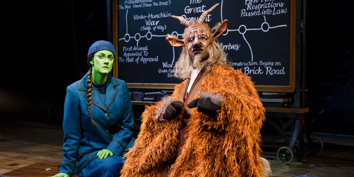 Alice Fearn (Elphaba) and Chris Jarman (Doctor Dillamond) in Wicked (Photo: Darren Bell)