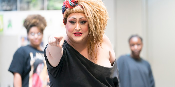 Vicky Vox (Audrey II) in rehearsal for Little Shop Of Horrors (Photo: Johan Persson)