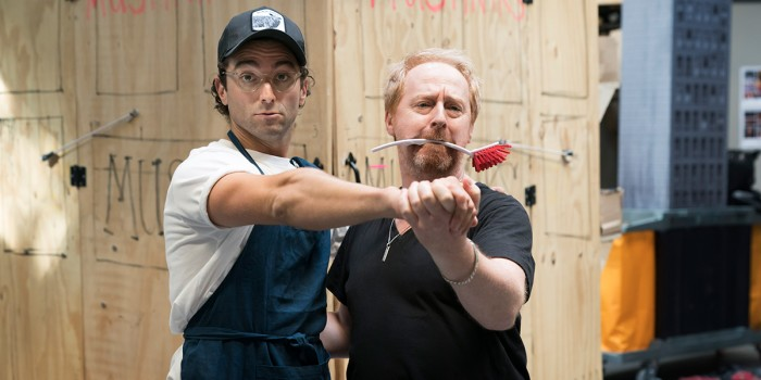 Marc Antolin (Seymour) and Forbes Masson (Mushnik) in rehearsal for Little Shop Of Horrors (Photo: Johan Persson)