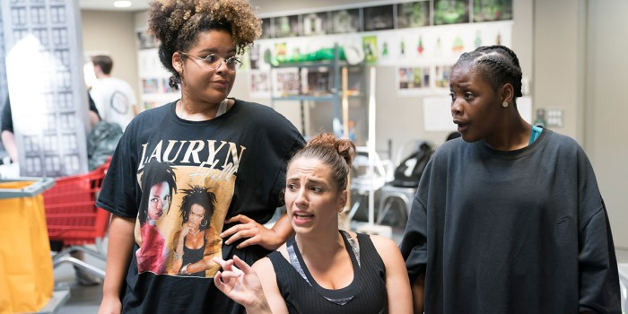 Renee Lamb (Chiffon), Christina Modestou (Ronnette) and Seyi Omooba (Crystal) in rehearsal for Little Shop Of Horrors (Photo: Johan Persson)