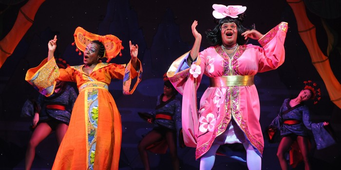Tameka Empson and Clive Rowe in Aladdin at Hackney Empire in 2009