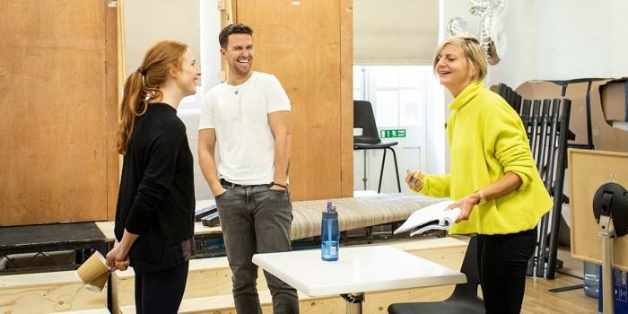 Rosalie Craig, Richard Fleeshman and Marianne Elliott (director) in Company rehearsals (Photo: Helen Maybanks)
