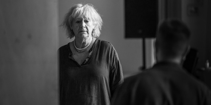 Maggie Steed in rehearsal for Pinter One (Photo: Marc Brenner)