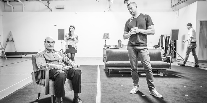 David Suchet and Russell Tovey in rehearsal for Pinter Two (Photo: Marc Brenner)