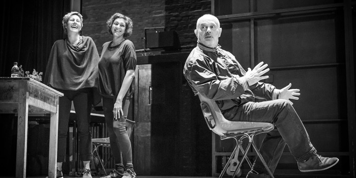 Tamsin Greig, Meera Syal and Keith Allen in rehearsals for Pinter Three