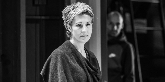Tamsin Greig in rehearsals for Pinter Three