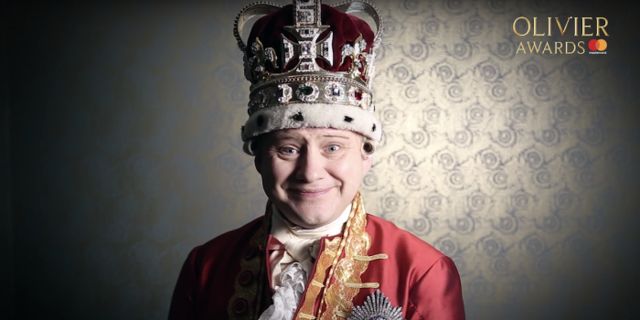 Michael Jibson as Hamilton's King George III announcing the 2019 Olivier Awards