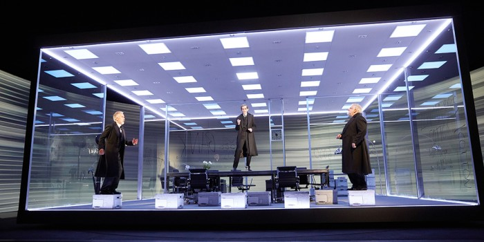 Ben Miles, Adam Godley and Simon Russell Beale in The Lehman Trilogy at the National Theatre (Photo: Mark Douet)