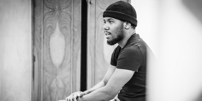 Dwane Walcott in Pinter Four rehearsals (Photo: Marc Brenner)