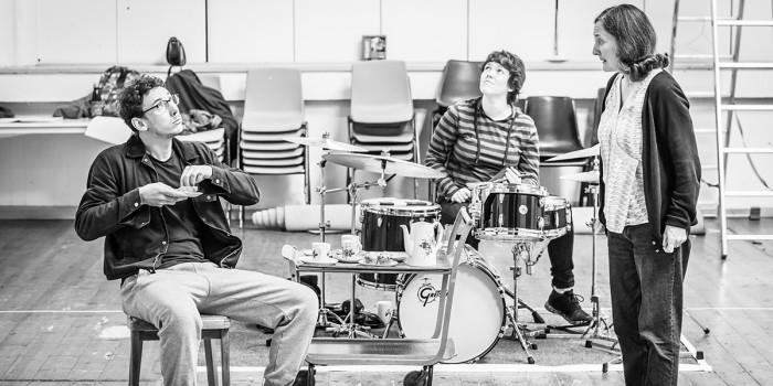 Al Weaver, Abbie Finn and Brid Bennan in Pinter Four rehearsals (Photo: Marc Brenner)