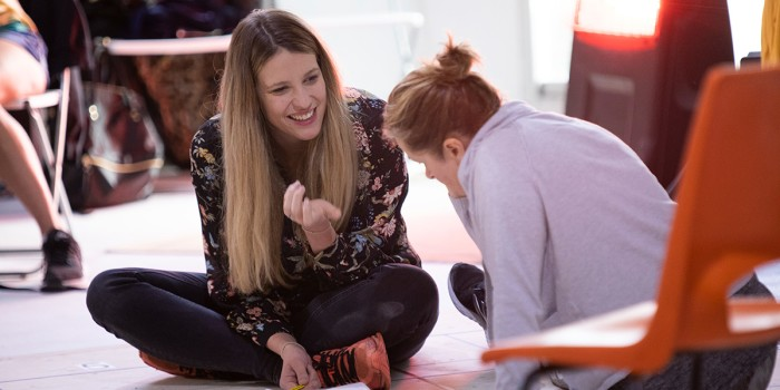 Katy Rudd and Julie Hale in The Curious Incident Of Dog In The Night-Time rehearsals (Photo: Ellie Kurttz)