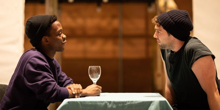 L-R Tyrone Huntley (Obi) and Billy Cullum (Alex) in rehearsals for Leave to Remain at the Lyric Hammersmith. Photo by Helen Maybanks (1)