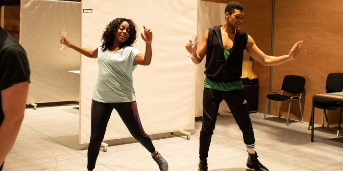 L-R, Aretha Ayeh (Chichi) and Arun Blair-Mangat (Damien) in rehearsals for Leave to Remain. Photo by Helen Maybanks