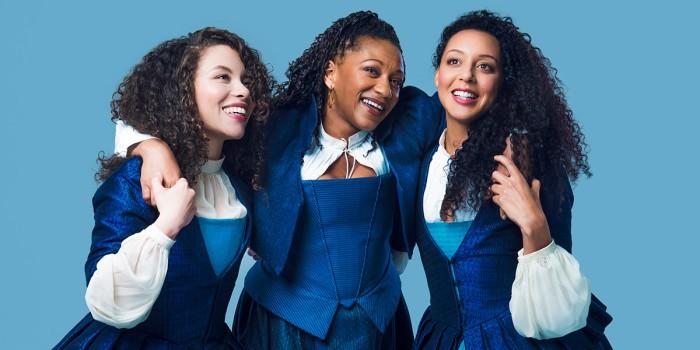 Saffron Coomber, Clare Perkins and Adelle Leonce in Emilia (Photo: Matt Crockett)