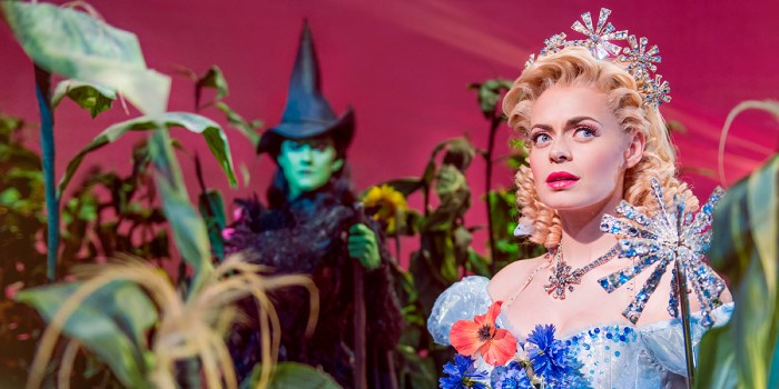 Alice Fearn (Elphaba) and Sophie Evans (Glinda) in Wicked at the Apollo Victoria Theatre (Photo: Matt Crockett)