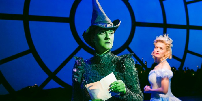Alice Fearn (Elphaba) and Sophie Evans (Glinda) in Wicked at the Apollo Victoria Theatre (Photo: Matt Crockett)