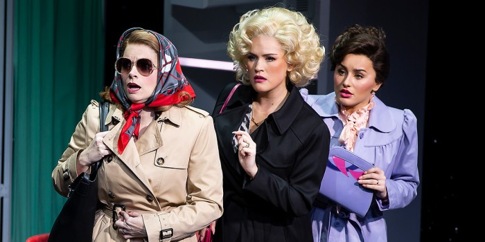 Caroline Sheen, Natalie McQueen and Amber Davies in 9 To 5 The Musical (Photo: Pamela Raith)