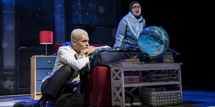 Layton Williams (Jamie) and Sabrina Sandhu (Pritti Pasha) in Everybody's Talking About Jamie at the Apollo Theatre. Photo credit Johan Perrson