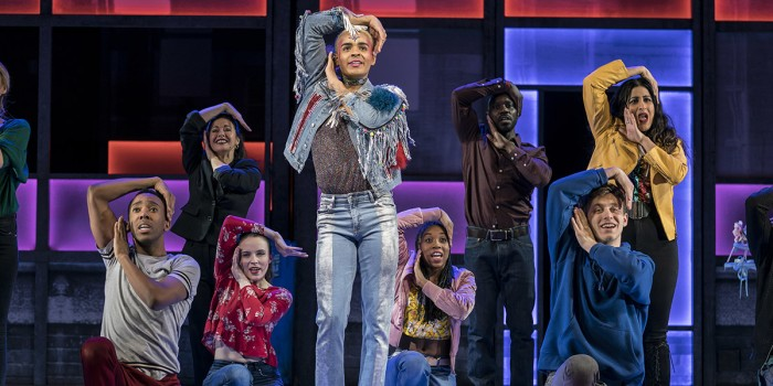 Layton WIlliams (Jamie) and the Ensemble in Everybody's Talking About Jamie at the Apollo Theatre. Photo credit Johan Perrson.