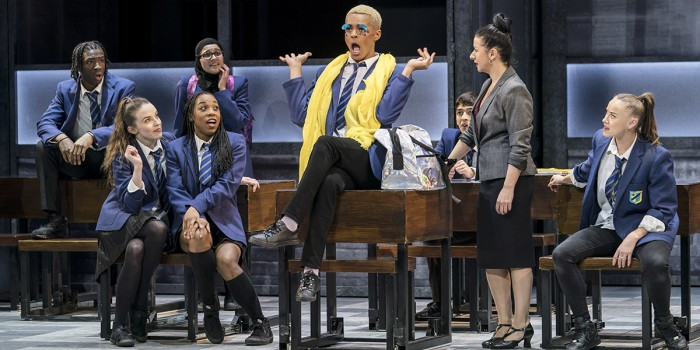 Layton Williams (Jamie), Hayley Tamaddon (Miss Hedge) and the Ensemble in Everybody's Talking About Jamie at the Apollo Theatre. Photo credit Johan Perrson