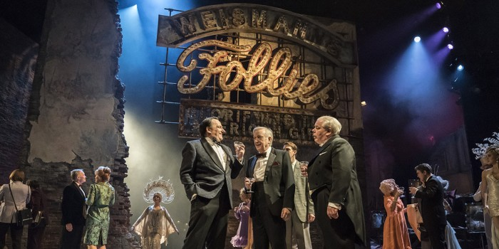 . FOLLIES 2019 Peter Forbes (Buddy), Billy Boyle (Theodore) and Bruce Graham (Roscoe) National Theatre (c) Johan Persson