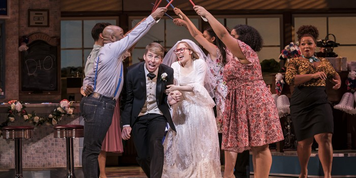 Jack-McBrayer and Laura Baldwin in Waitress. (Photo credit: Johan Persson)