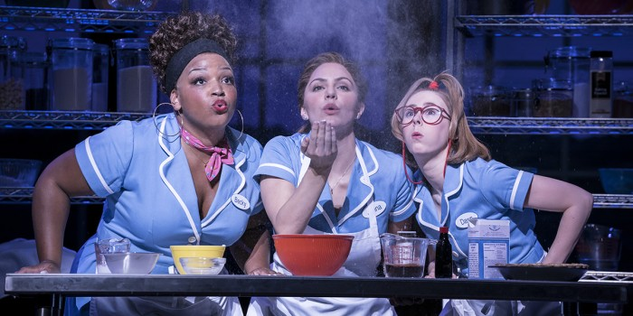 Marisha Wallace, Katharine McPhee and Laura Baldwin in Waitress. (Photo credit: Johan Persson).