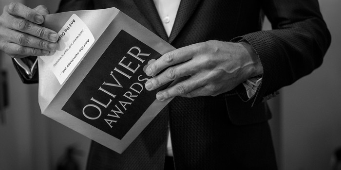 Olivier Awards 2018 with Mastercard envelope (Photo: David Levene)