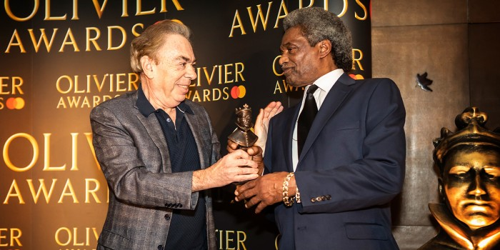 Andrew Lloyd Webber and Linford Hudson at the Olivier Awards 2019 with Mastercard nominees celebration (Photo: Pamela Raith)