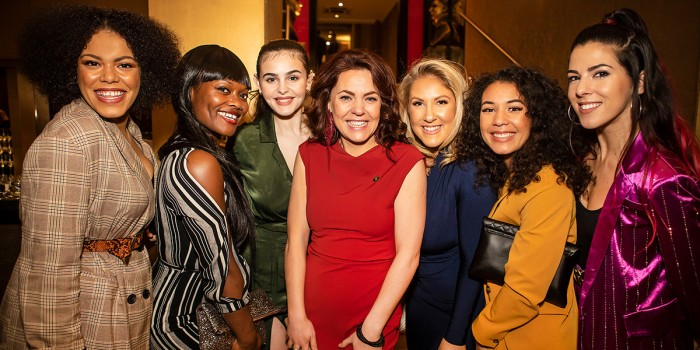 The Six Queens - Jarneia Richard-Noel, Alexia McIntosh, Millie O'Connell, Natalie Paris, Jarneia Richard-Noel and Aimie Atkinson - and Rachel Tucker at the Olivier Awards 2019 nominees' celebration (Photo: Pamela Raith)