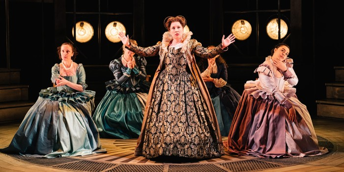 Jenni Maitland (Countess of Kent) in Emilia at the Vaudeville Theatre. Photo credit Helen Murray.