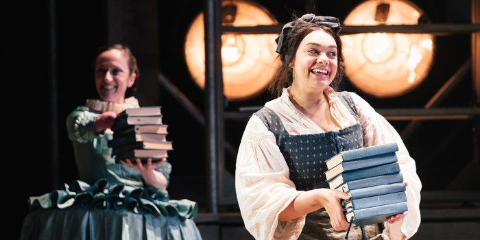 Nadia Albina (Lady Katherine Howard) and Sarah Seggari (Lady Cordelia) in Emilia at the Vaudeville Theatre. Photo credit Helen Murray.
