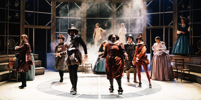 The cast of Emilia at the Vaudeville Theatre. Photo credit Helen Murray (3)