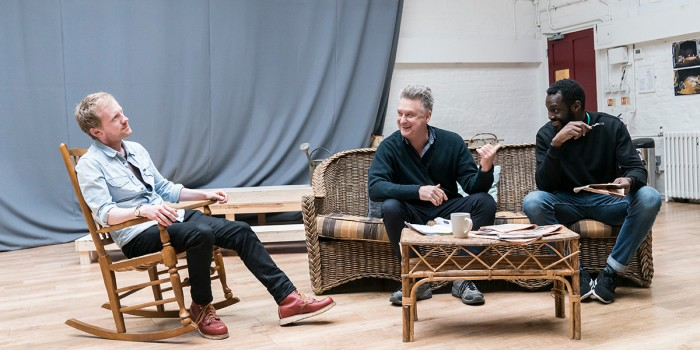 Gunner Cauthery, Bill Pullman and Sule Rimi in rehearsal for All My Sons at The Old Vic (Photo: Johan Persson)