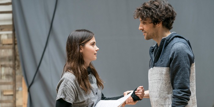 Jenna Coleman and Colin Morgan in rehearsal for All My Sons at The Old Vic (Photo: Johan Persson)