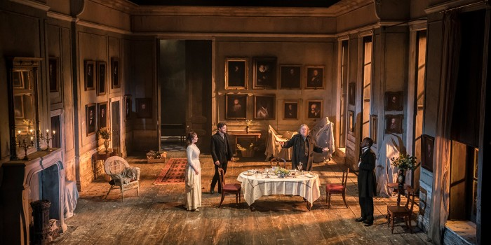 Hayley Atwell, Tom Burke, Peter Wight and Giles Terera in Rosmersholm (Photo: Johan Persson)