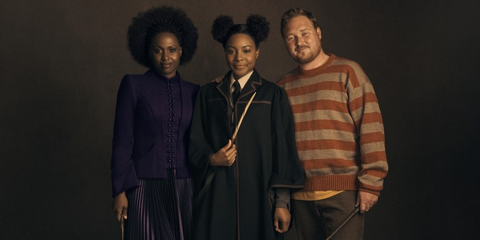Michelle Gayle (Hermione Granger), Rayxia Ojo (Rose Granger-Weasley) and Thomas Aldridge (Ron Weasley)