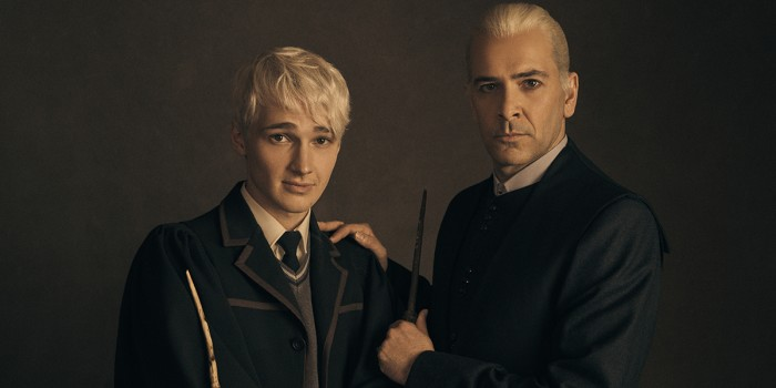l-r Jonathan Case (Scorpius Malfoy) and James Howard (Draco Malfoy)