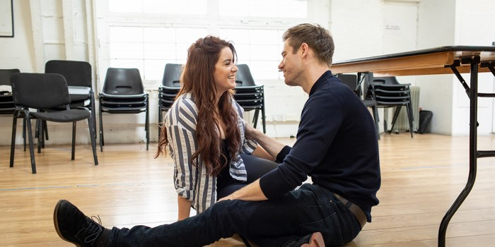 Lucie Jones and David Hunter in Waitress rehearsals (Photo: Helen Maybanks)