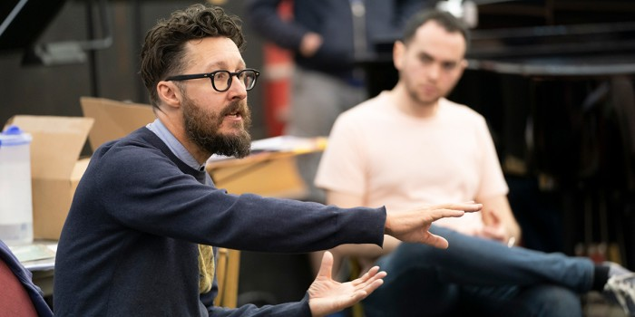 Timothy Sheader (Director) and Ben Glassberg (Conductor) in rehearsals for Hansel and Gretel. Photo Johan Persson