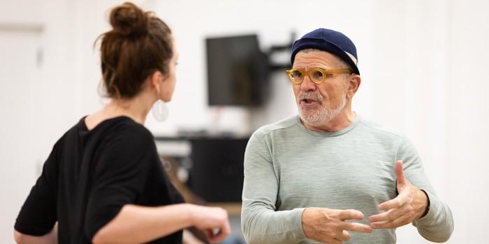 David Mamet in Bitter Wheat rehearsals (Photo: Helen Maybanks)