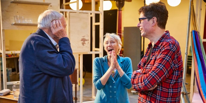 Julian Glover, Lia Williams and James Macdonald in rehearsal for The Night Of The Iguana (Photo: Brinkhoff/Moegenburg)